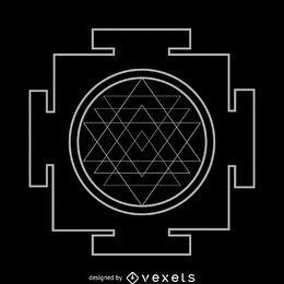 Contorno blanco de geometría sagrada de Sri Yantra
