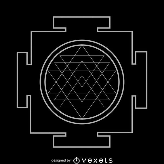Sri Yantra Sacred Geometry White Outline - Vector download