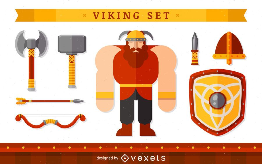 Personaje vikingo con objetos.