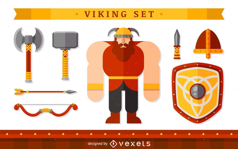 Personaje vikingo con elementos.