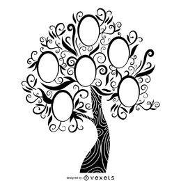 árvore de família em preto e branco