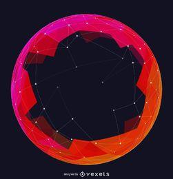Esfera de malha futurista vermelha