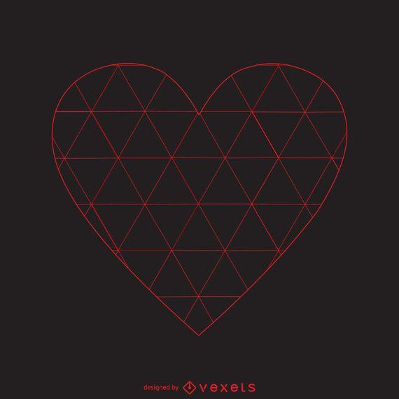 Modelo de logotipo de coração de padrão triângulo