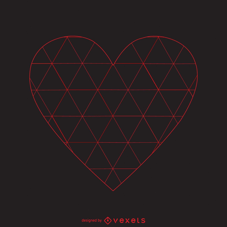 Triangle pattern heart logo template