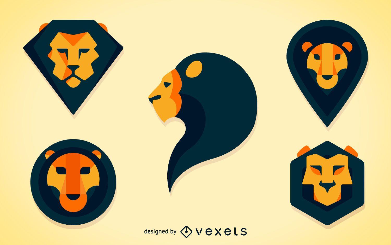 Polygonal lion illustration set