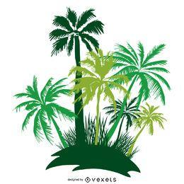 Silhueta de ilha de palmeiras isoladas