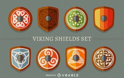 Conjunto de escudos viking