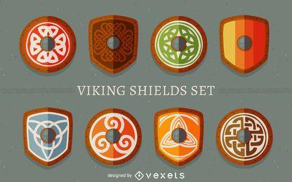 Conjunto de escudos vikingos.