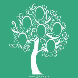 Plantilla verde de árboles genealógicos