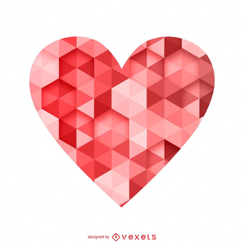 Polygonal heart logo template