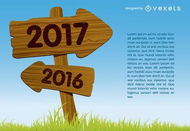 Sinal de conceito de seta de madeira 2017