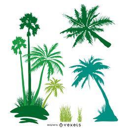 Conjunto de silueta de palmeras aislado