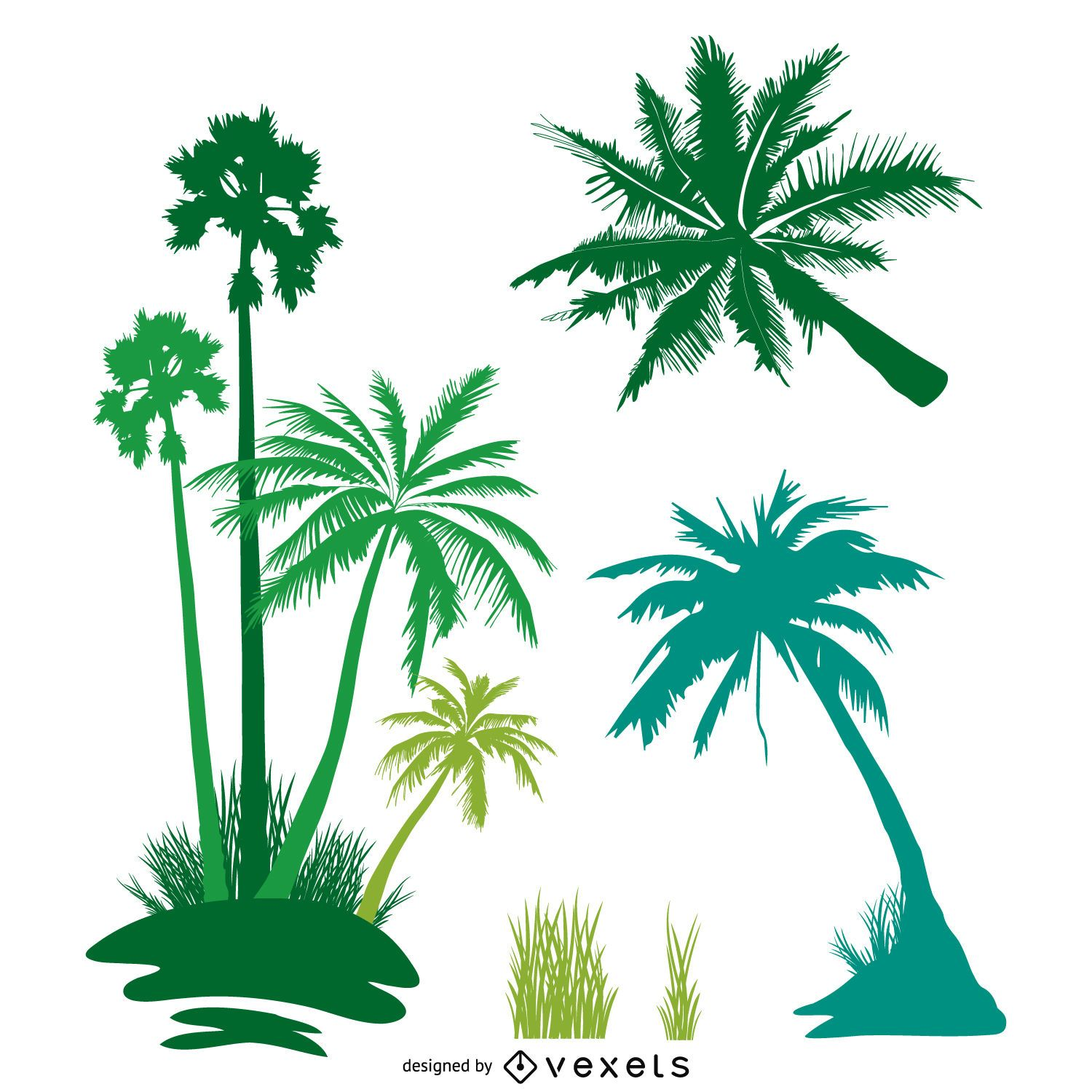 Palm trees isolated silhouette set