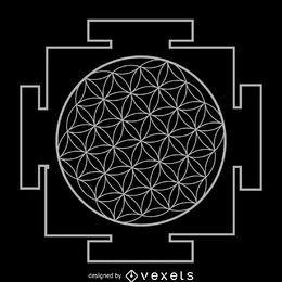 Blume der heiligen Geometrie des Lebens Yantra