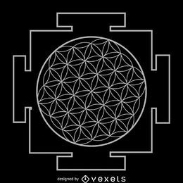 Flower of life yantra sacred geometry