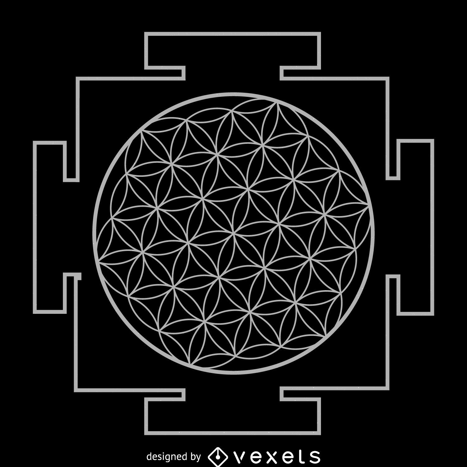 Flower Of Life Yantra Sacred Geometry Vector Download