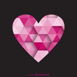 Modelo de logotipo de rótulo de coração poligonal