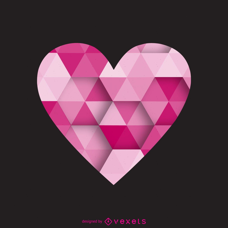 Polygonal heart label logo template