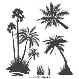 Palm trees silhouette collection
