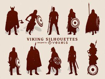 Conjunto de silhueta Vikings