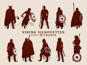Vikings silhouette set