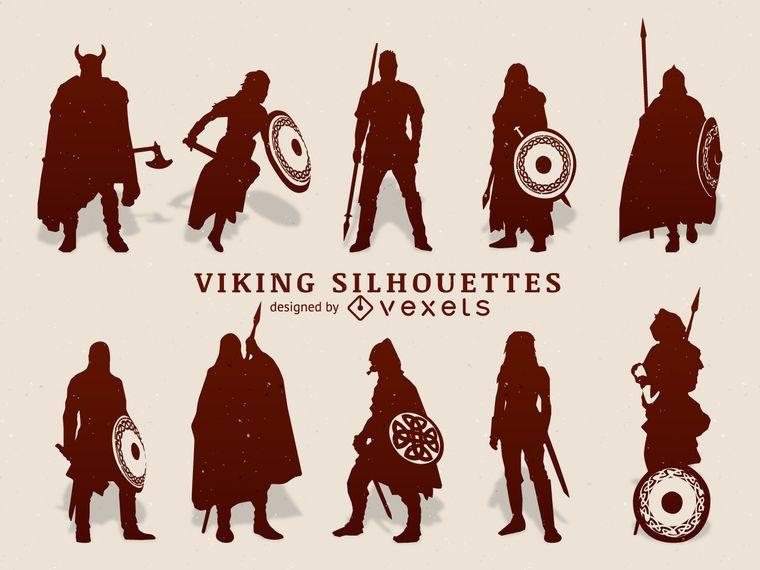 Conjunto de silueta de vikingos