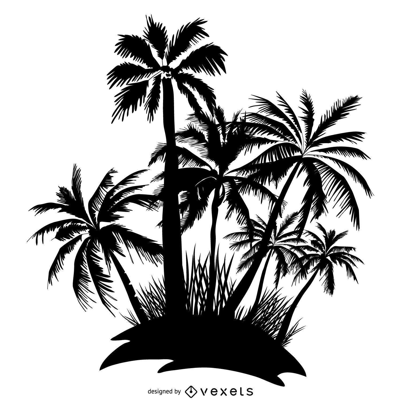Silueta de isla de palmeras