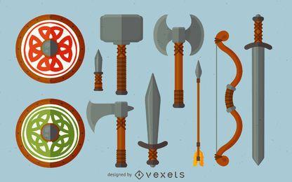 Conjunto de ilustración de arma de vikingos
