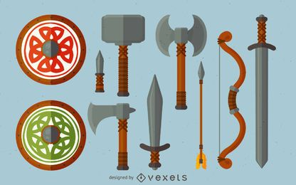 Vikings weapon illustration set