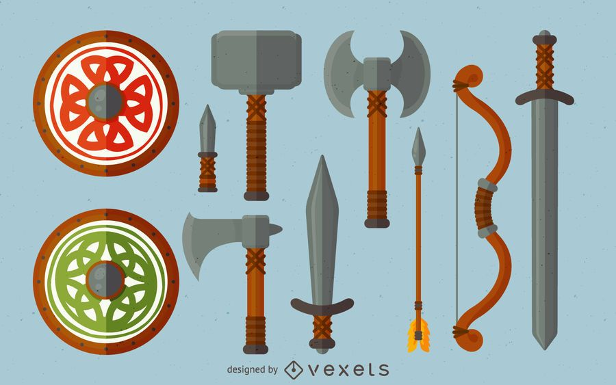 Vikings weapon illustration set