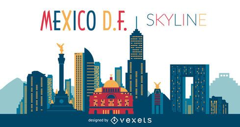 Mexico DF skyline illustration