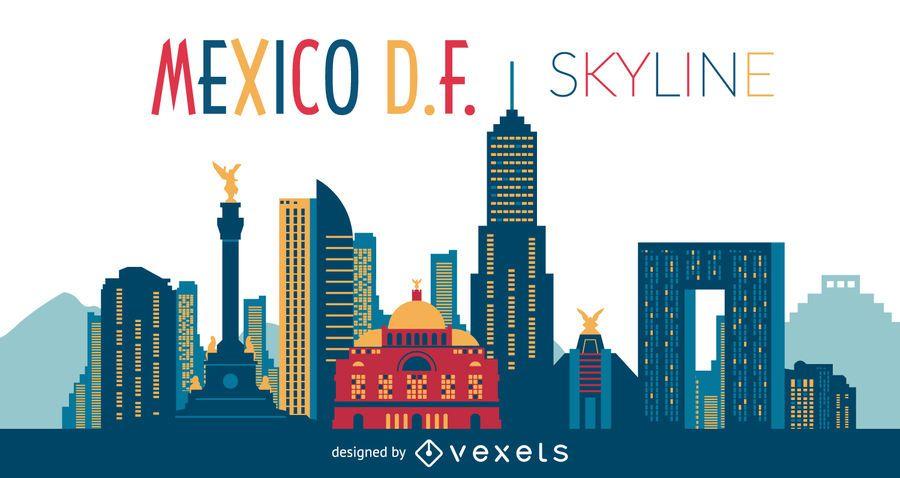 Ilustração de skyline do México DF