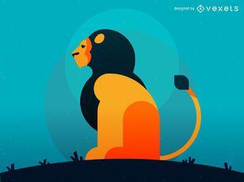 Ilustración geométrica del león