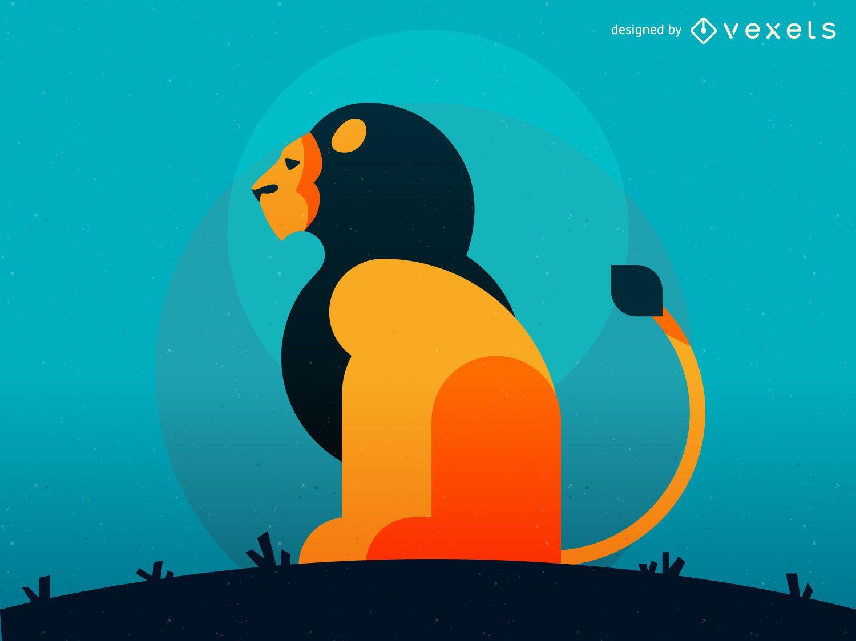 Ilustración de león geométrico