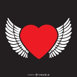 Coração com asas modelo de logotipo