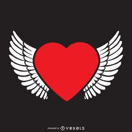 Coração com modelo de logotipo de asas
