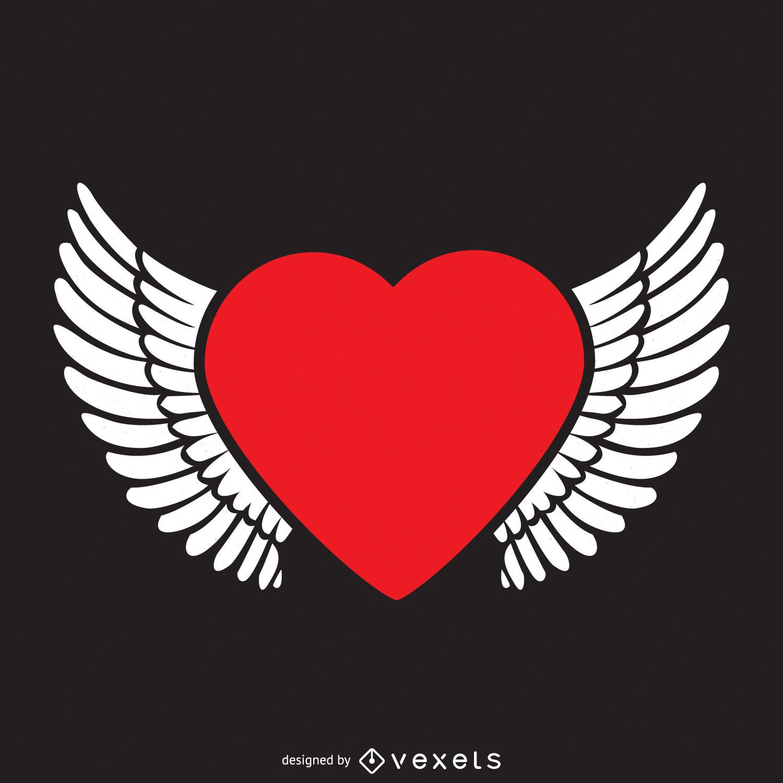 Corazón con alas plantilla de logotipo - Descargar vector