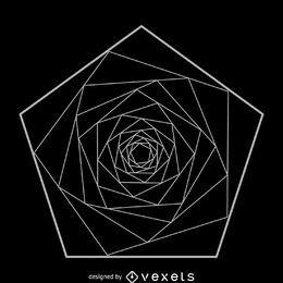 Pentágono en espiral geometría sagrada