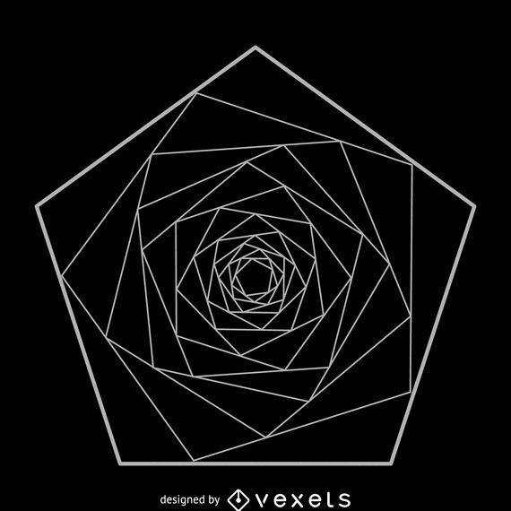 Spiraling Pentagon Sacred Geometry