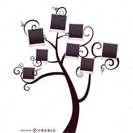 Árvore genealógica com modelo de polaroids