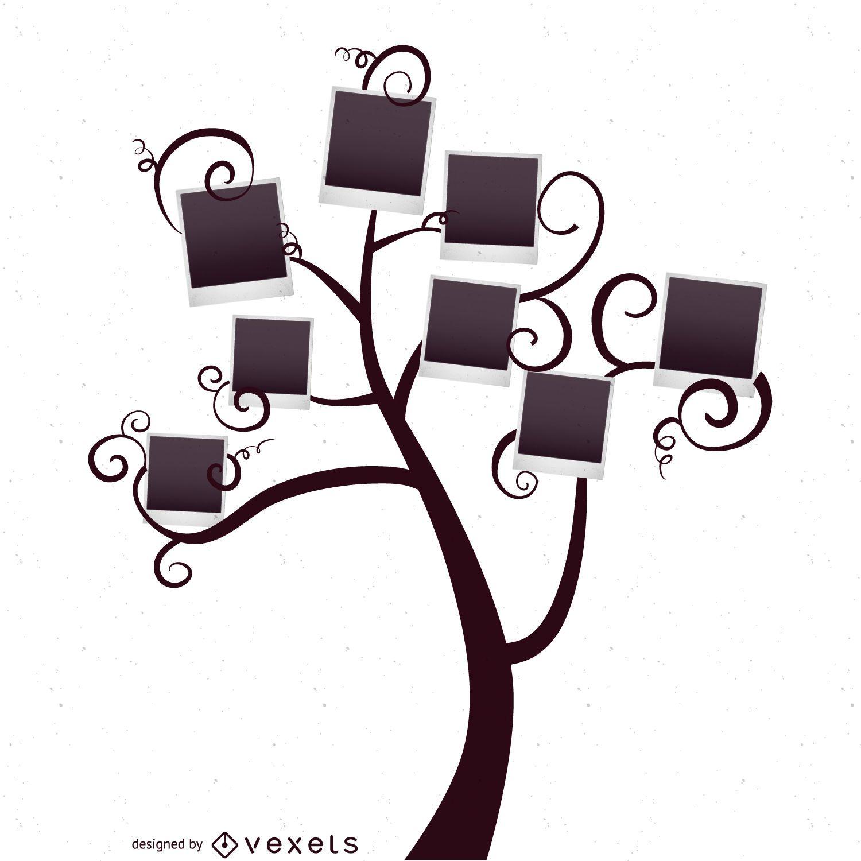 Árbol genealógico con la plantilla polaroids - Descargar vector