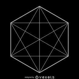 Ilustración de geometría sagrada hexágono