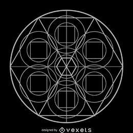 Desenho de geometria sagrada de formação de hexágono