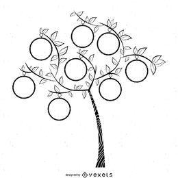 Modelo simples de árvore genealógica em preto e branco