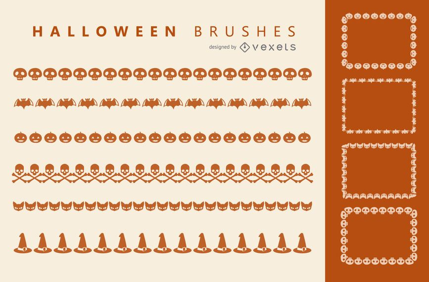 Halloween-Illustratorpinsel eingestellt