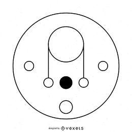 Ilustração de círculo de colheita de linha fina