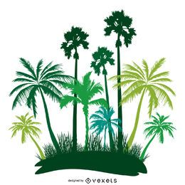 Green palm trees island silhouette