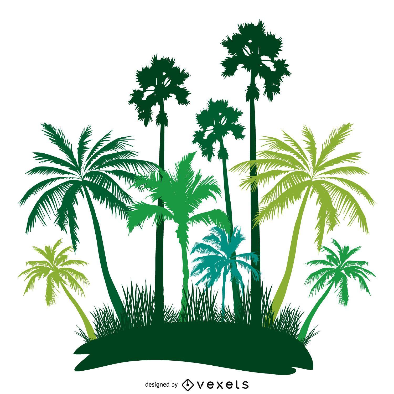 Green palm trees island silhouette