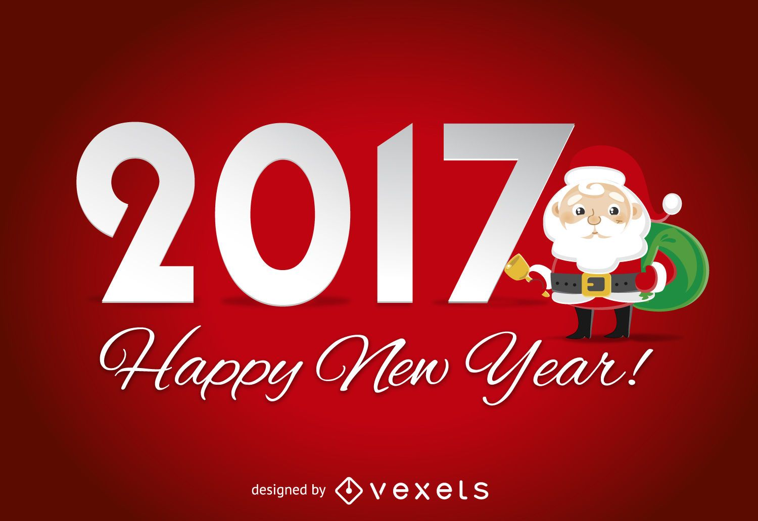 2017 sign with santa claus vector download