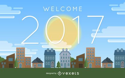 Brilhante cidade de boas-vindas de 2017